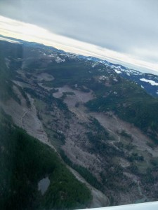 Rick James photo: The blitzed valley bottom of Tomas Creek, head of Comox Lake