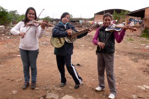 Three young musicians from Landfill Harmonic. Courtesy of The Film Collaborative.